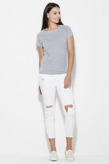 Grey t-shirt basic flared slightly elastic cotton short cut