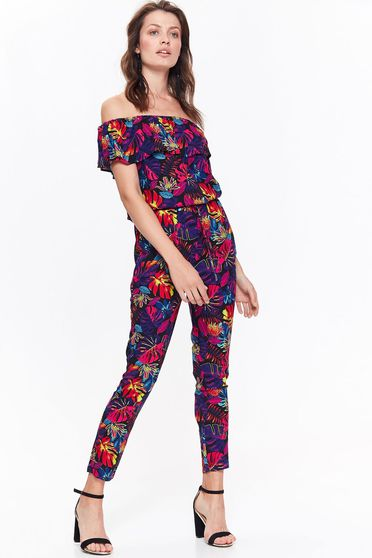 Top Secret black jumpsuit casual long on the shoulders with ruffle details with floral print
