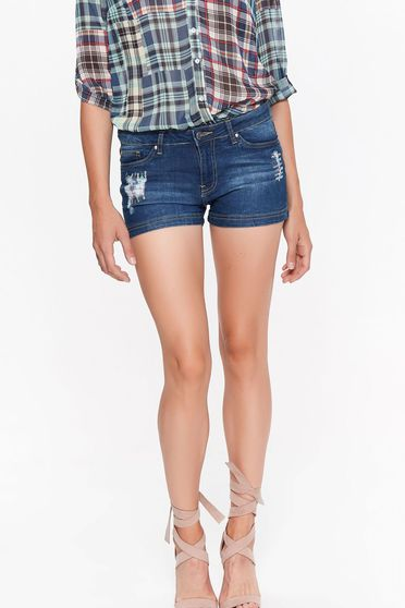 Top Secret casual with medium waist slightly elastic cotton with pockets blue short