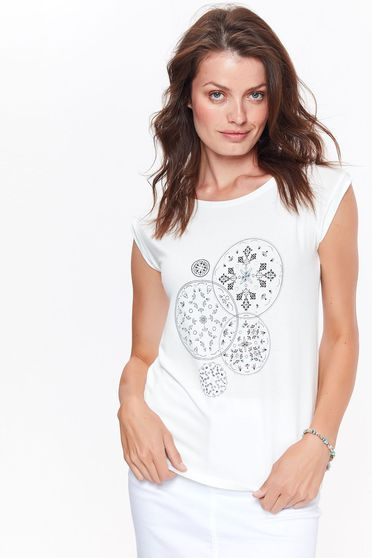 Top Secret white casual short sleeve flared t-shirt slightly elastic fabric with print details