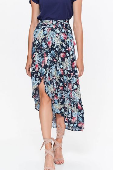 Top Secret blue casual asymmetrical cloche skirt high waisted with floral print