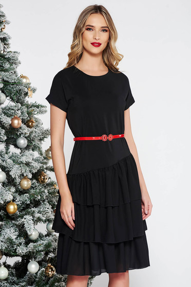 StarShinerS black elegant flared dress from veil fabric with inside lining with ruffle details