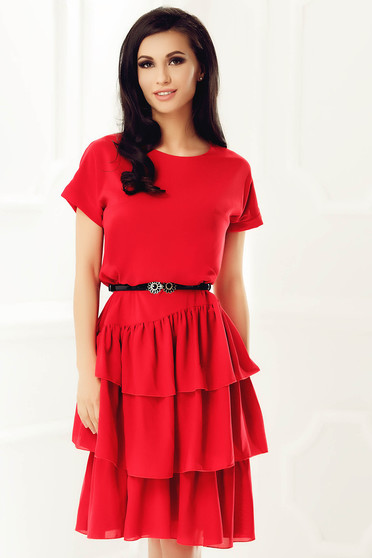 StarShinerS red elegant flared dress from veil fabric with inside lining with ruffle details