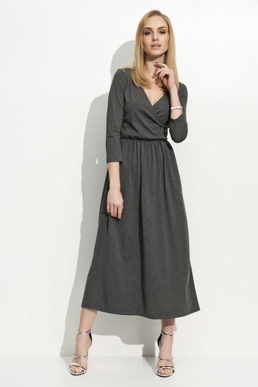 Folly black dress casual 3/4 sleeve long with a cleavage thin fabric