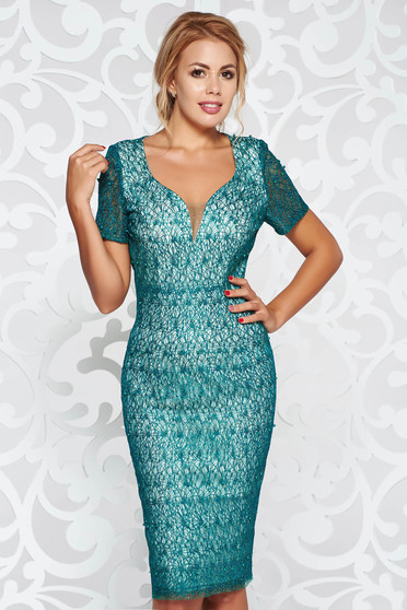 Green occasional short sleeve pencil dress with small beads embellished details with inside lining