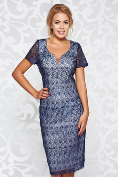 Darkblue occasional short sleeve pencil dress with small beads embellished details with inside lining