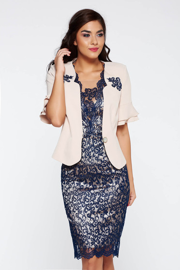 Darkblue lady set elegant from 2 pieces short sleeve midi cotton with sequin embellished details with inside lining