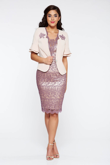 Lila lady set elegant from 2 pieces short sleeve midi cotton with sequin embellished details with inside lining