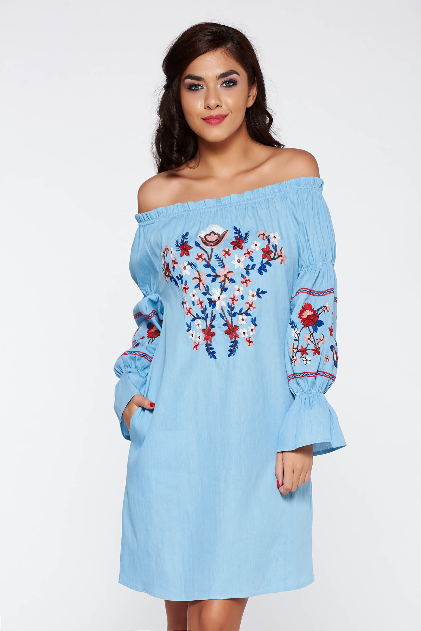06a70aee9e Kék casual hosszú ujjú váll nélküli ruha pamutból készült hímzett