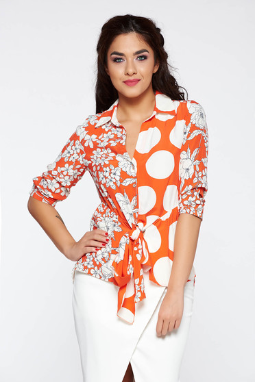 Orange elegant 3/4 sleeve women`s shirt with floral print airy fabric