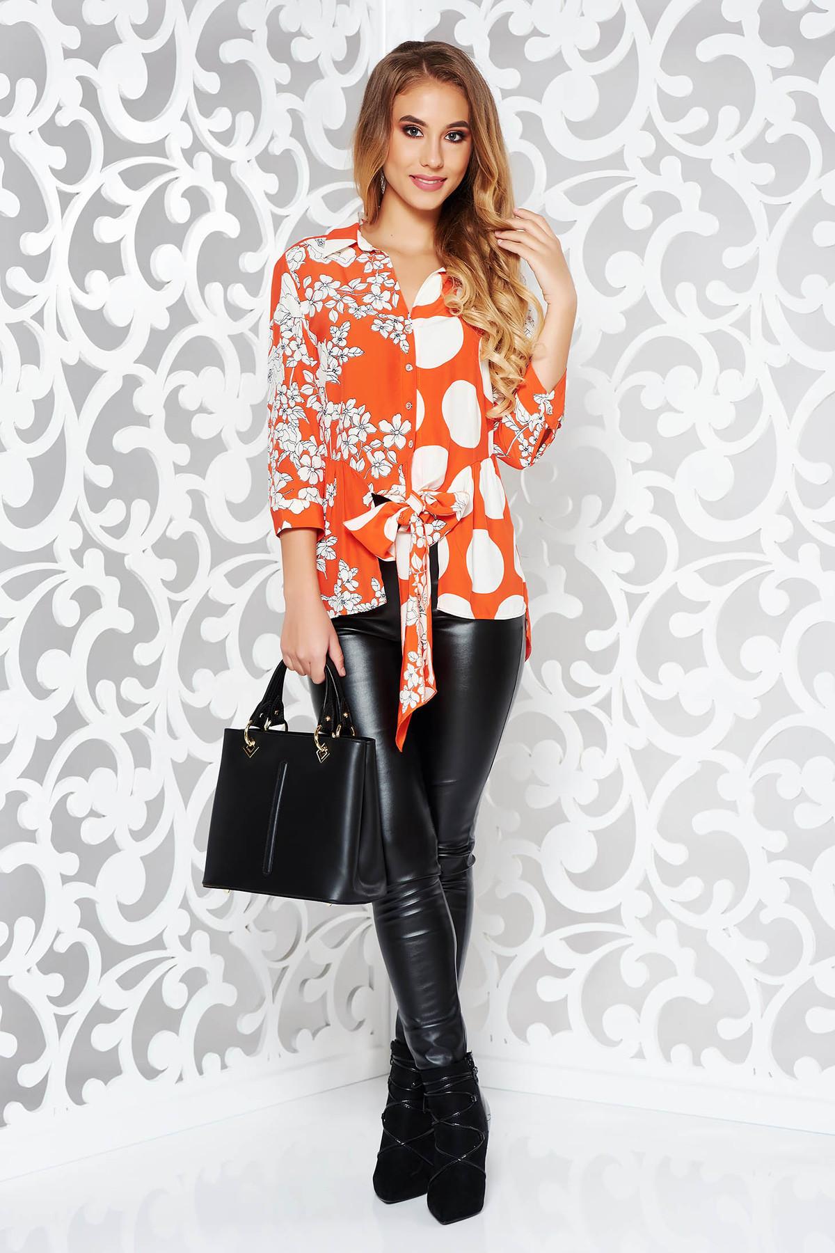 Camasa dama portocalie eleganta cu maneca 3/4 cu imprimeu floral din material vaporos