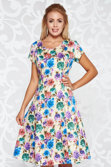 Cream daily cloche dress cotton midi with floral prints