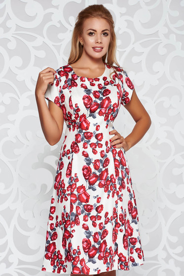 Red daily cloche dress cotton midi with floral prints