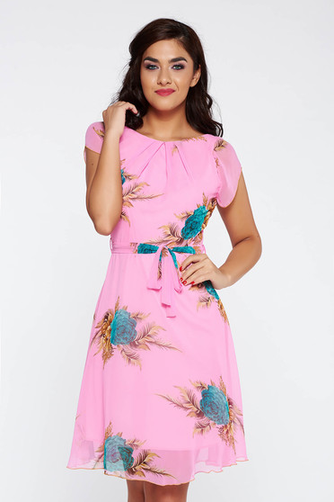 Pink elegant cloche dress transparent chiffon fabric with inside lining accessorized with tied waistband