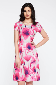 Pink daily cloche dress cotton midi with floral prints
