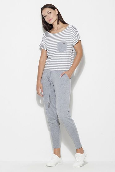 Katrus grey jumpsuit casual short sleeve long cotton with laced details with pockets