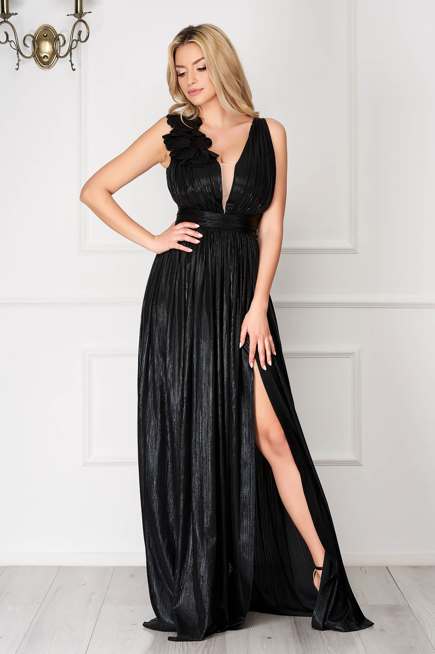 LaDonna black occasional cloche dress from shiny fabric with deep cleavage