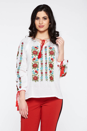 Blouse casual flared 3/4 sleeve white cotton embroidered women`s blouse