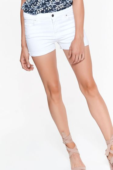 Top Secret white short casual with medium waist cotton with pockets