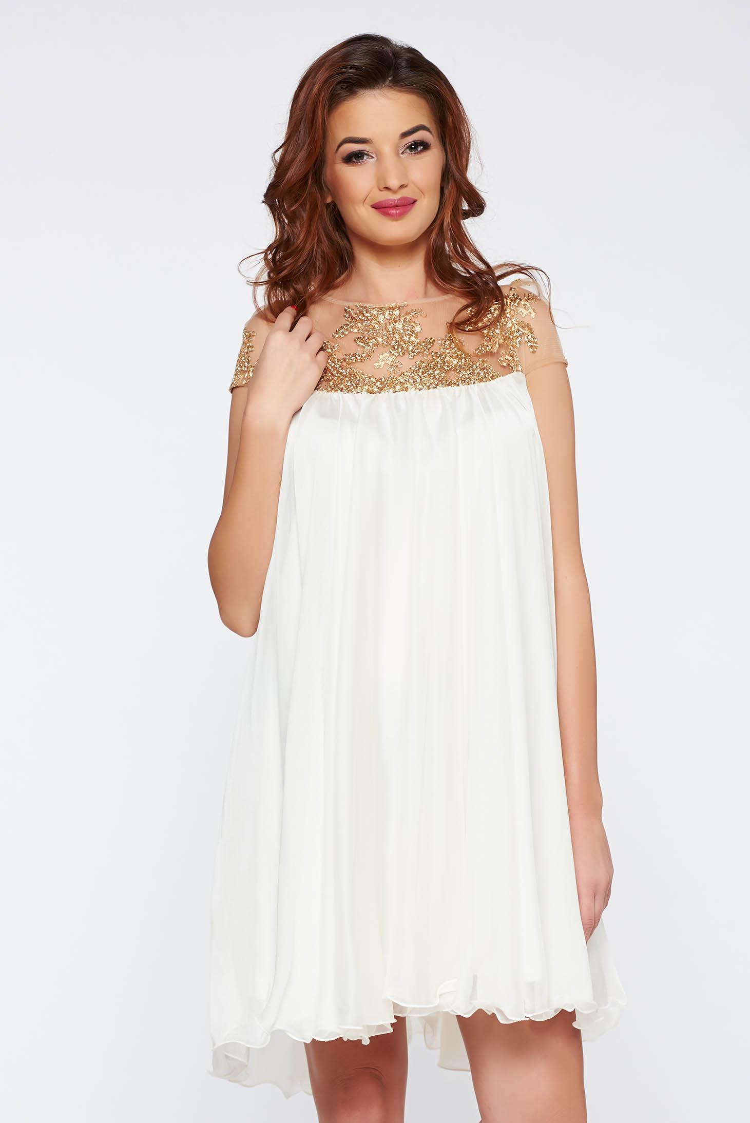 Fehér Artista rövid alkalmi bő szabású ruha hímzett betétekkel f35728a190