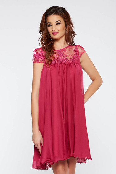 Artista fuchsia short cut occasional with easy cut dress with embroidery details