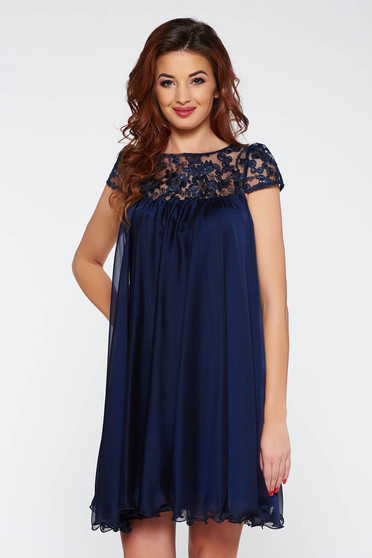 Artista darkblue short cut occasional with easy cut dress with embroidery details