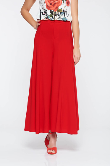 Red elegant flaring cut high waisted trousers airy fabric