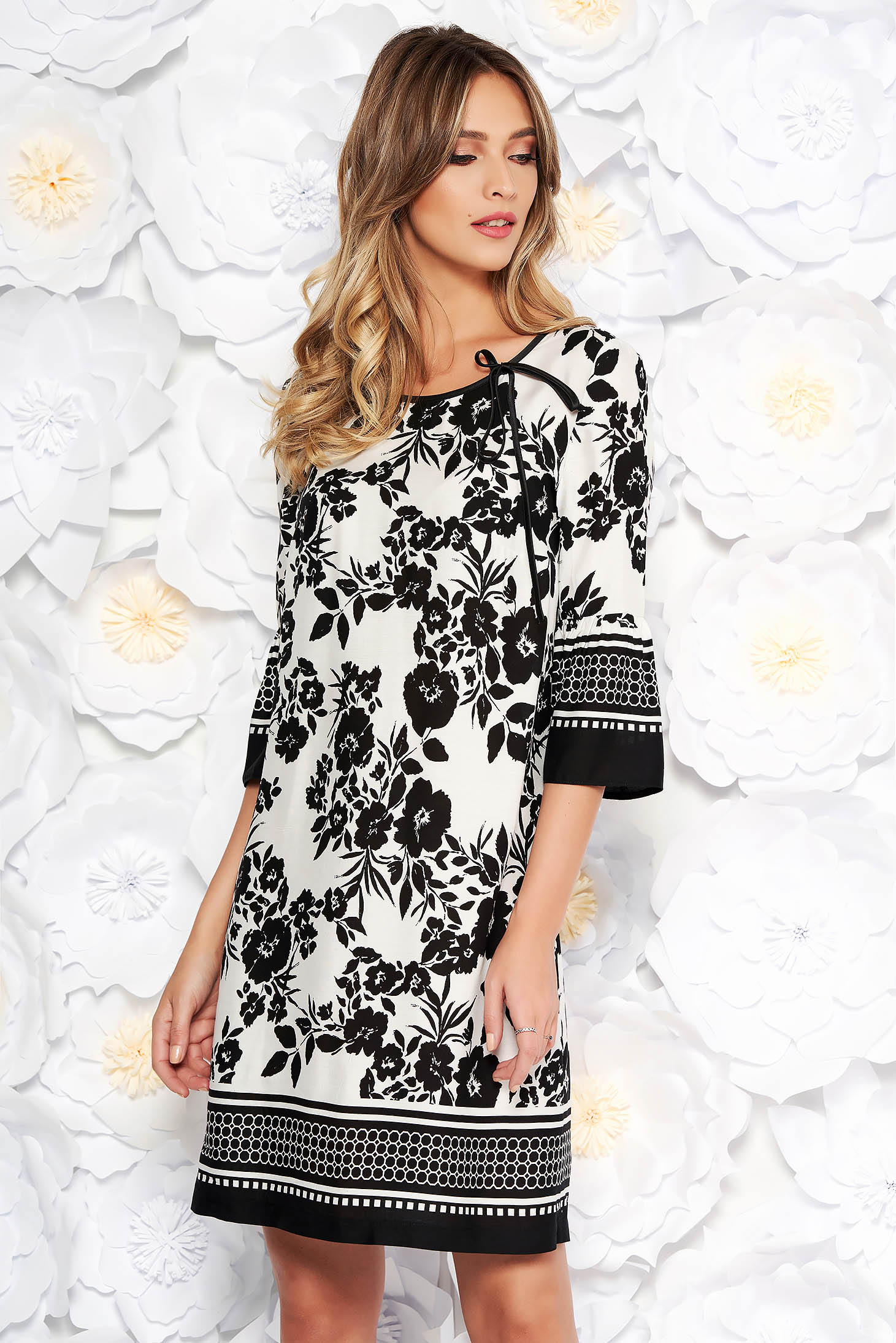StarShinerS black daily flared dress cotton with floral prints