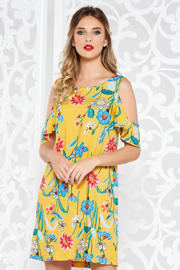 StarShinerS yellow casual flared dress airy fabric both shoulders cut out