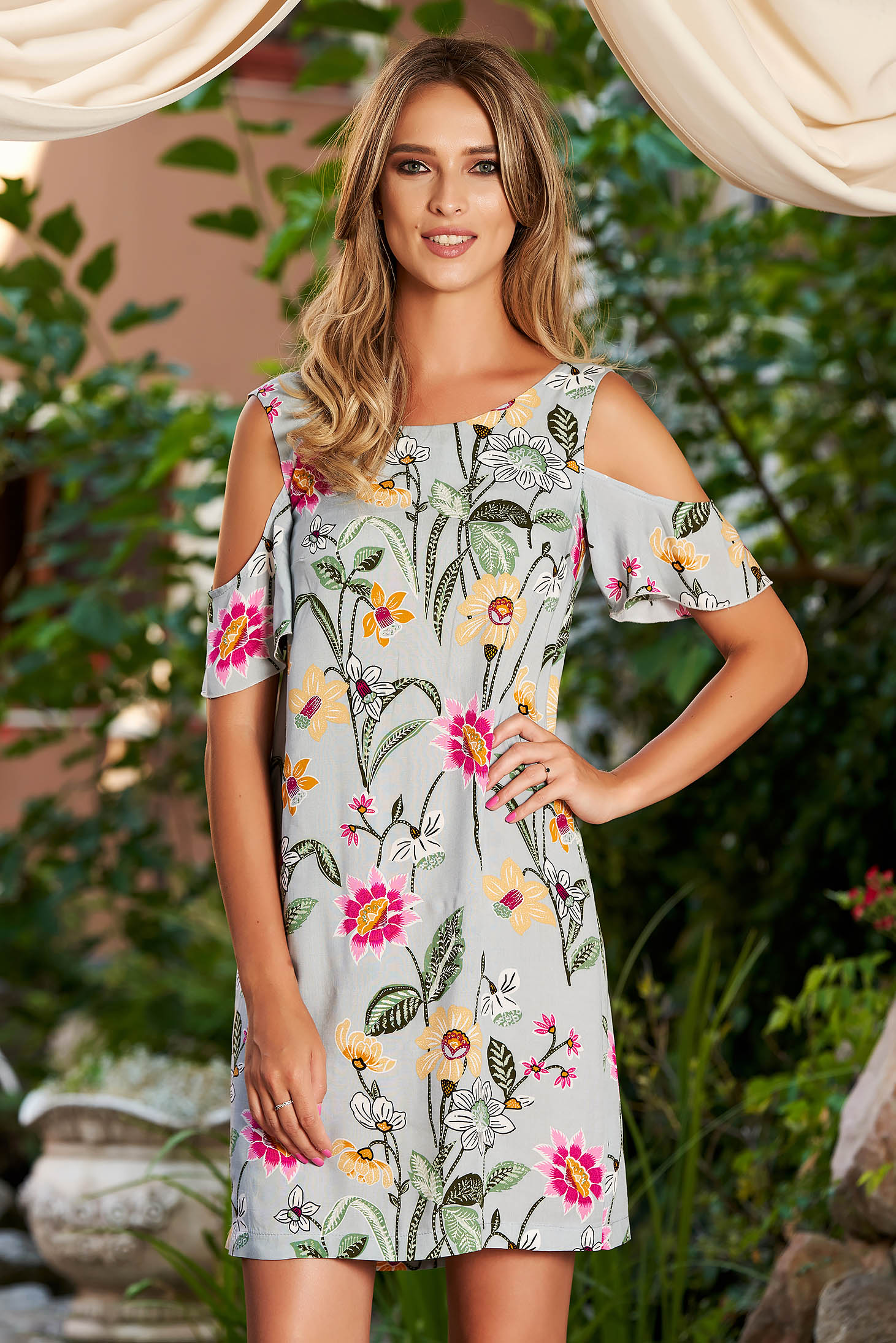 StarShinerS grey casual flared dress airy fabric both shoulders cut out