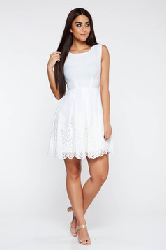 White elegant dress flaring cut slightly elastic fabric with cut out material