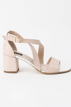 Cream sandals elegant natural leather with thin straps chunky heel