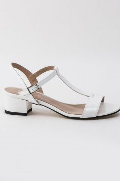 White sandals natural leather office with thin straps chunky heel