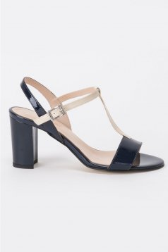 Darkblue sandals elegant natural leather chunky heel with high heels