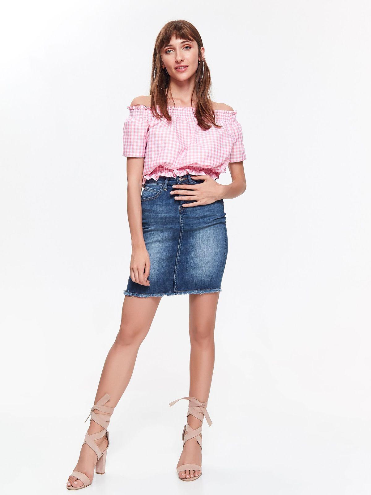 Bluza dama Top Secret roz casual cu croi larg din bumbac cu elastic in talie