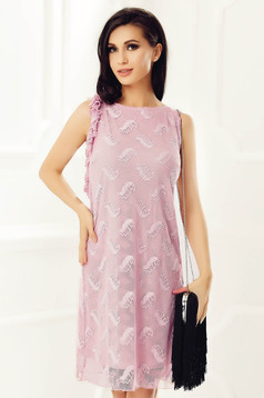 StarShinerS rosa elegant dress laced with inside lining with straight cut