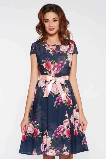 Darkblue elegant flaring cut dress with floral prints thin fabric accessorized with tied waistband