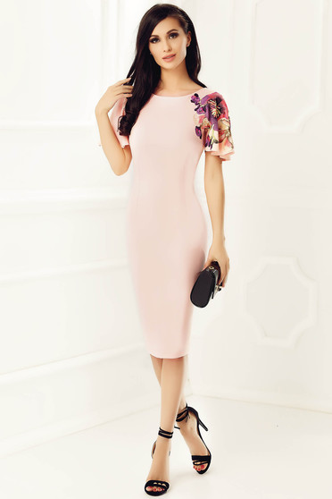StarShinerS peach elegant pencil dress slightly elastic fabric with embroidery details
