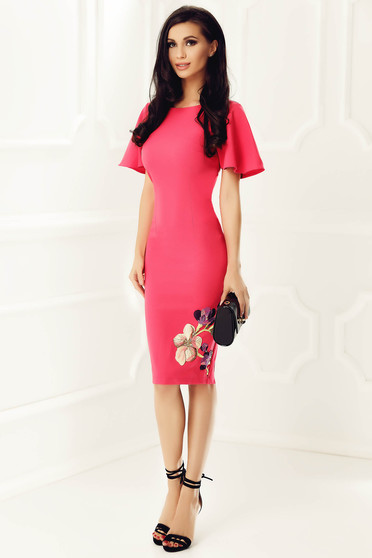StarShinerS fuchsia elegant pencil dress slightly elastic fabric with embroidery details