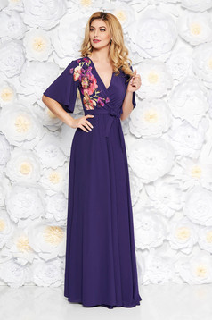 StarShinerS purple occasional dress from veil fabric with inside lining with elastic waist large sleeves