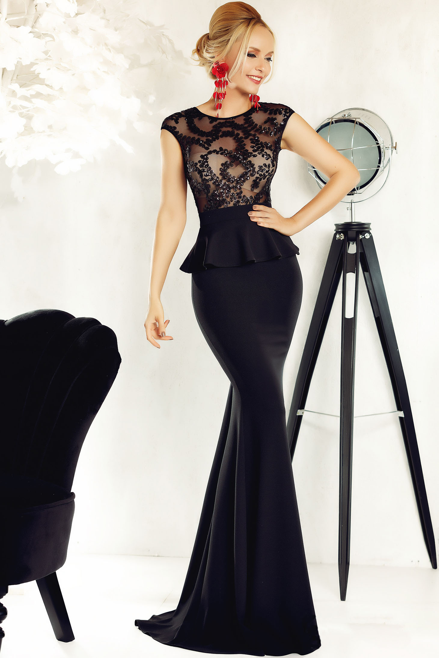 76c1dc1bdf Fofy black occasional mermaid dress with frilled waist with crystal  embellished details