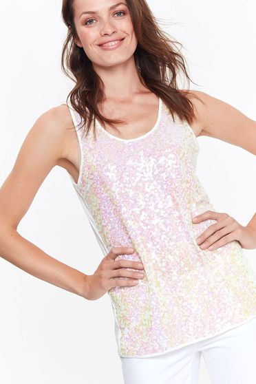 Top Secret white casual with easy cut top shirt with sequin embellished details
