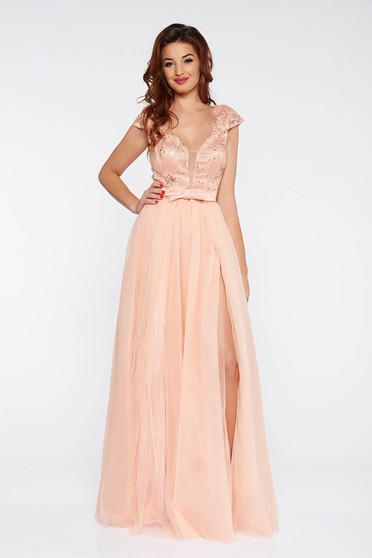 Artista peach occasional from tulle dress with inside lining with push-up cups with floral details with 3d effect
