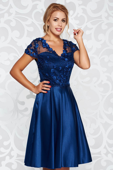 Darkblue occasional flaring cut dress from satin fabric texture with small beads embellished details