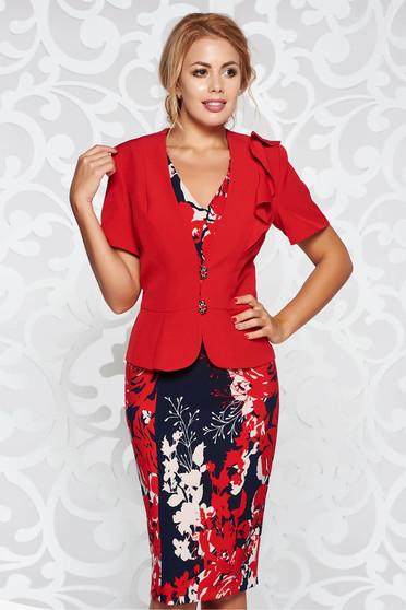 Red elegant lady set arched cut slightly elastic fabric
