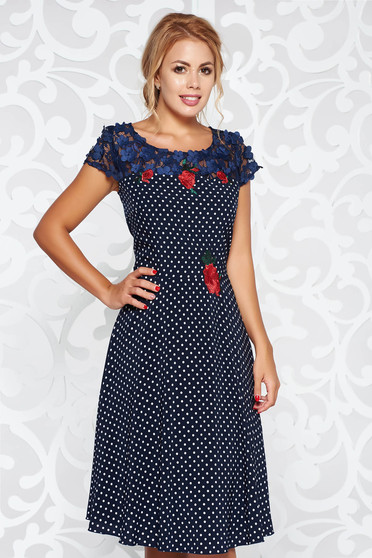Darkblue elegant flaring cut dress with embroidery details midi