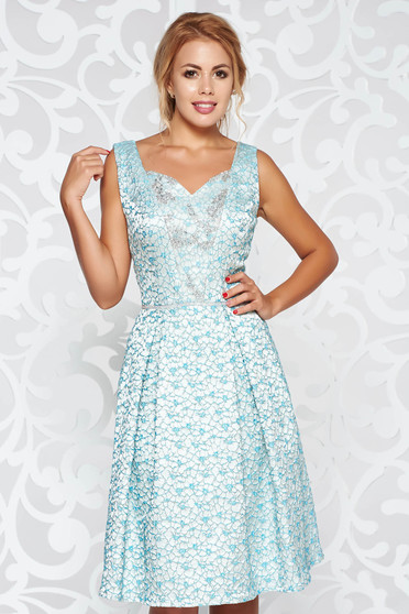 Lightblue occasional flaring cut dress from jacquard with crystal embellished details