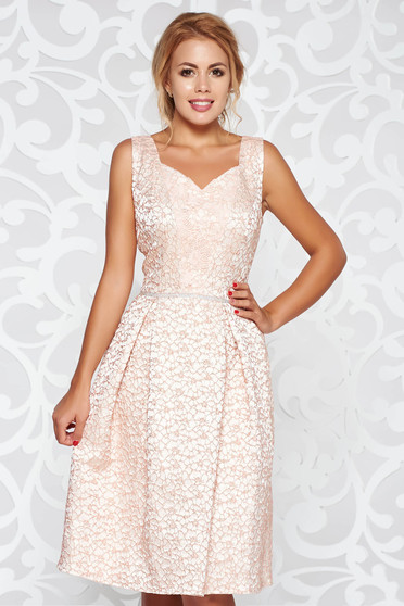 Rosa occasional flaring cut dress from jacquard with crystal embellished details