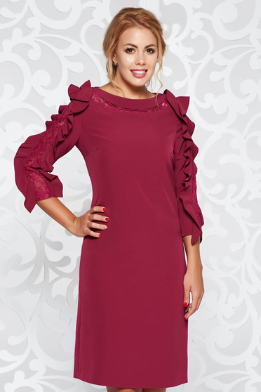 Purple elegant dress from non elastic fabric flared cut with ruffled sleeves