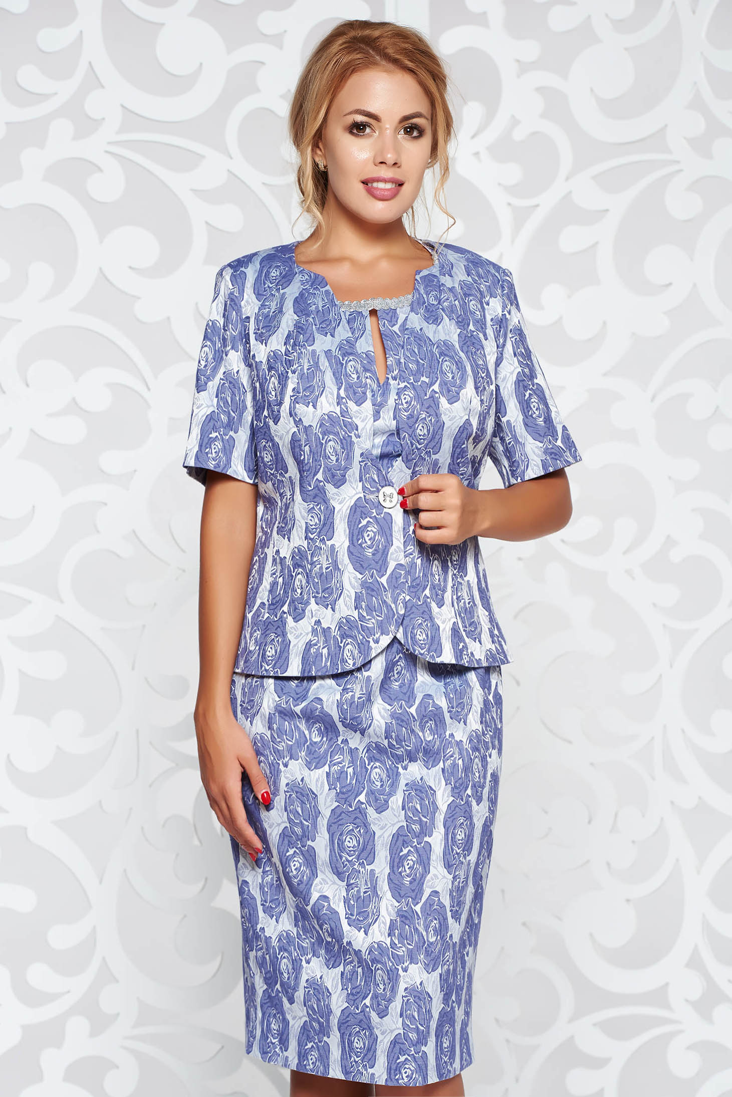 Grey elegant lady set with tented cut from jacquard